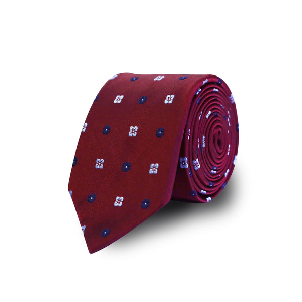 Blue flowers tie - burgundy
