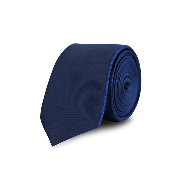 Twill solid woven tie - navy