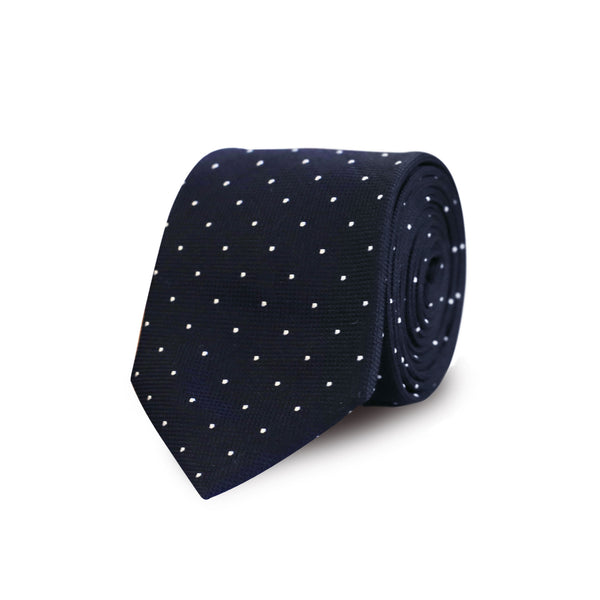 Satin white polka dot tie - black