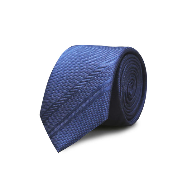 Jacquard club stripes tie - blue