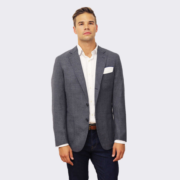 Cremieux 65 Mercer St. Flannel hopsack blazer - dark grey heather