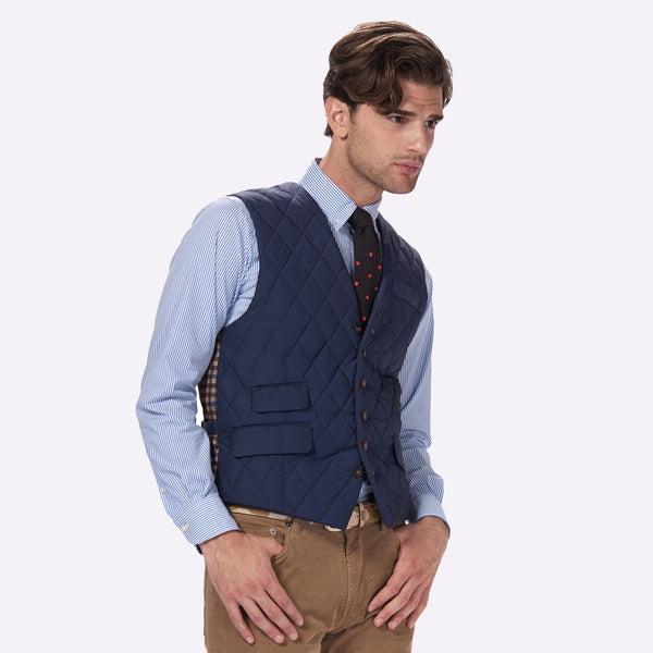 65 Mercer St. Quilted Tailored Vest - Navy