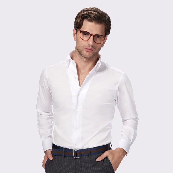 65 Mercer st. salins solid stretch poplin shirt - white