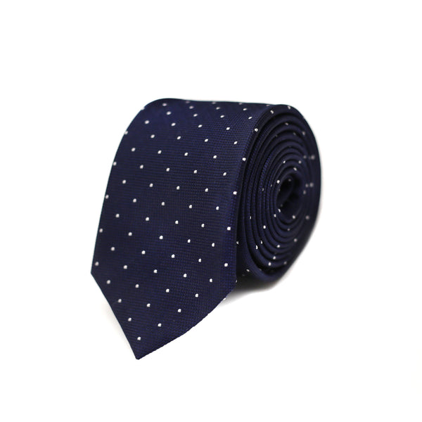White Polka dot Tie - Navy