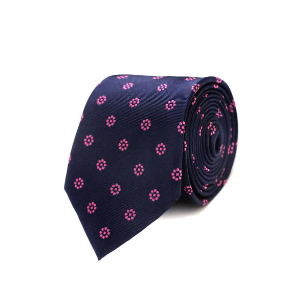Pink dot flower Tie - Navy