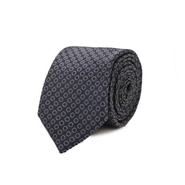 Big Grey dot tie - Navy