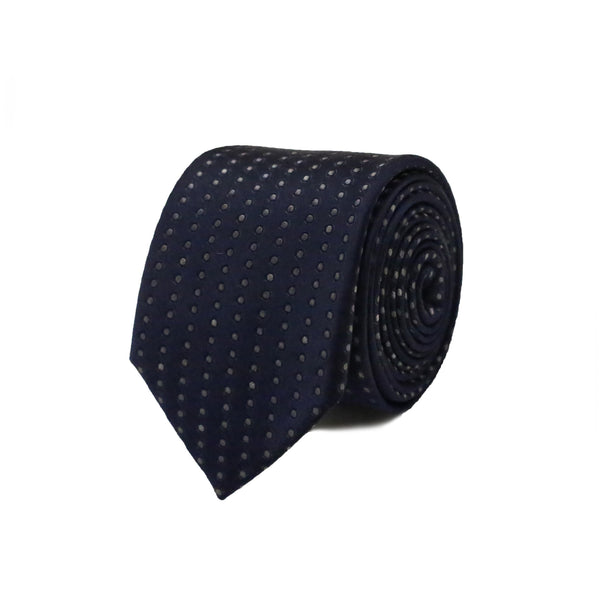 Grey Dots Tie - Navy