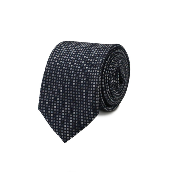 Square flowers & white blue dots tie - Navy