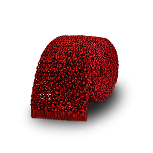 Jacquard knitted tie - red