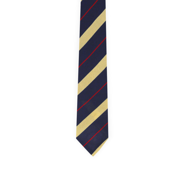 Diagonal regimental tie - navy & yellow