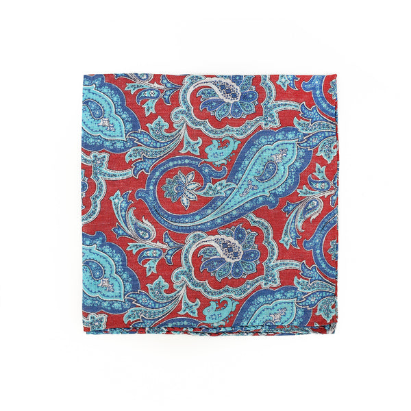 Paisley print red - pocket square