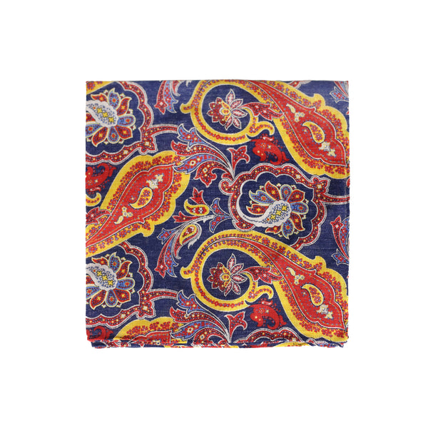 Paisley print navy - pocket square