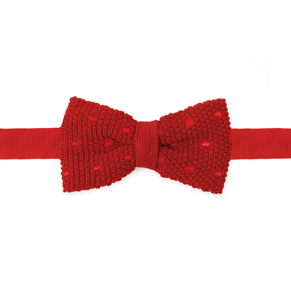 Knit Polka Dot Bow Tie Red
