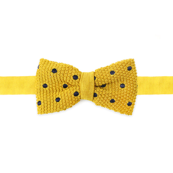 Knit Polka Dot Bow Tie Yellow