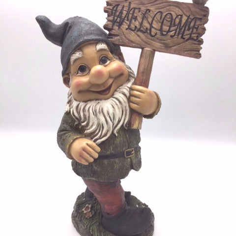 Gnome with Welcome Sign - Not Just Baskets