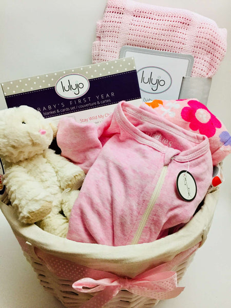 Welcome Sweet Baby Girl Gift Basket - Not Just Baskets