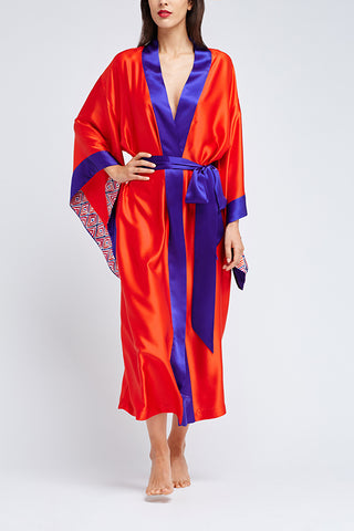 Hesper Fox Endymion silk kimono robe in Carnival colourway.