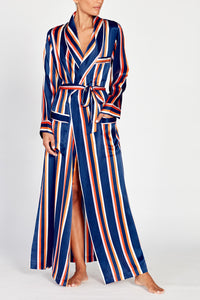 Ainsley Classic Long Navy Striped Silk Robe