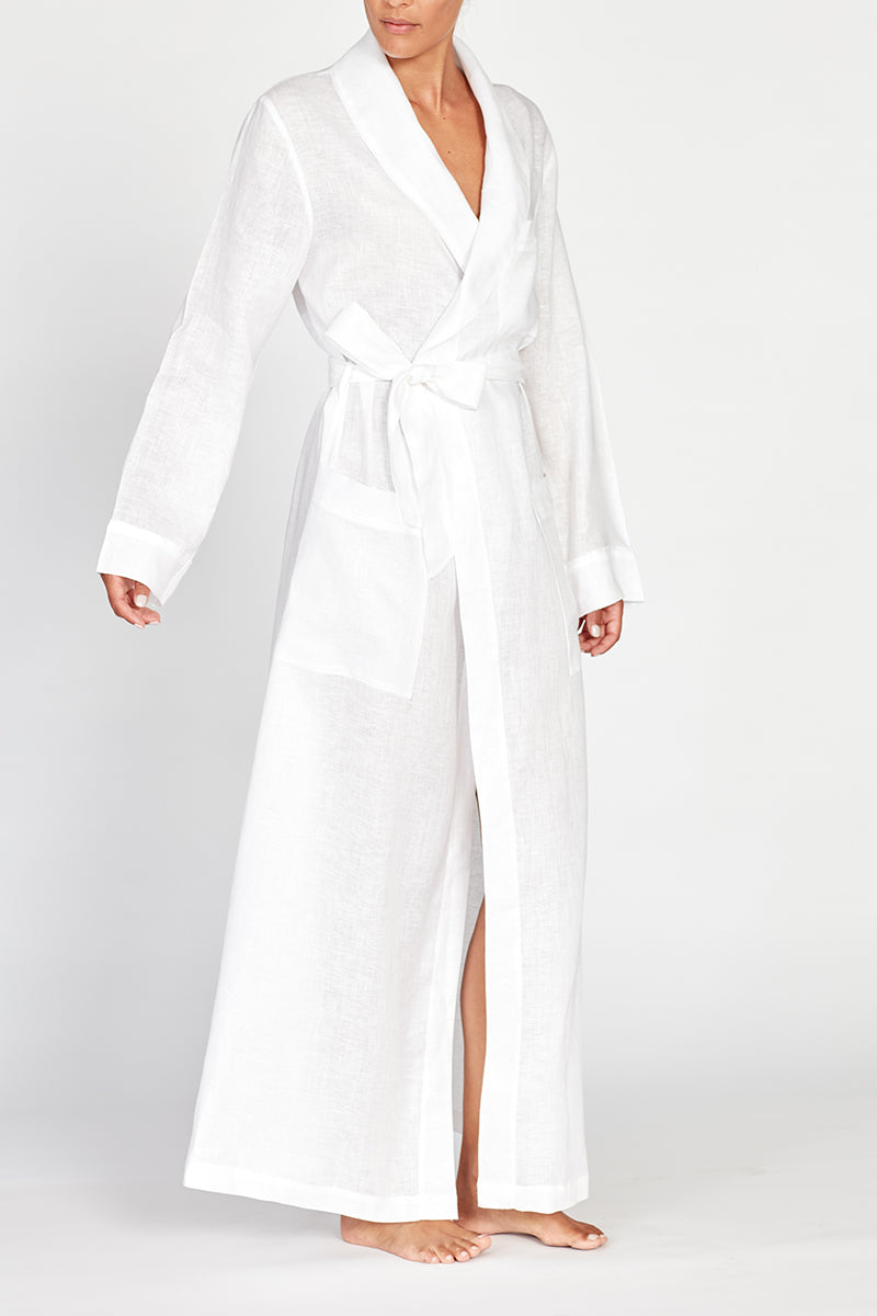 Ainsley White Classic Long Linen Robe