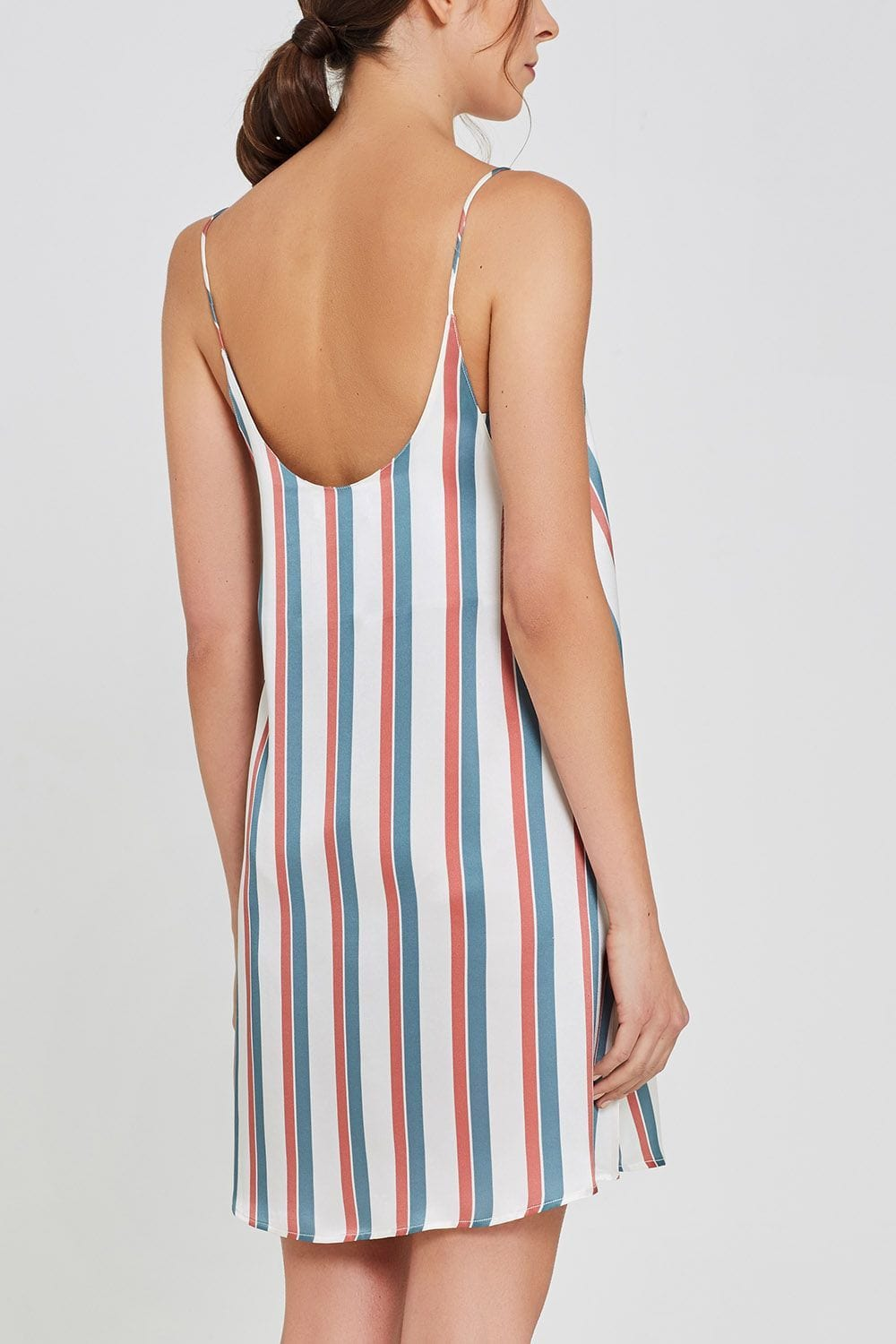 Adeline Shorty Nightdress Stripe Print Back