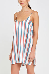 Adeline Shorty Nightdress Stripe Print Front