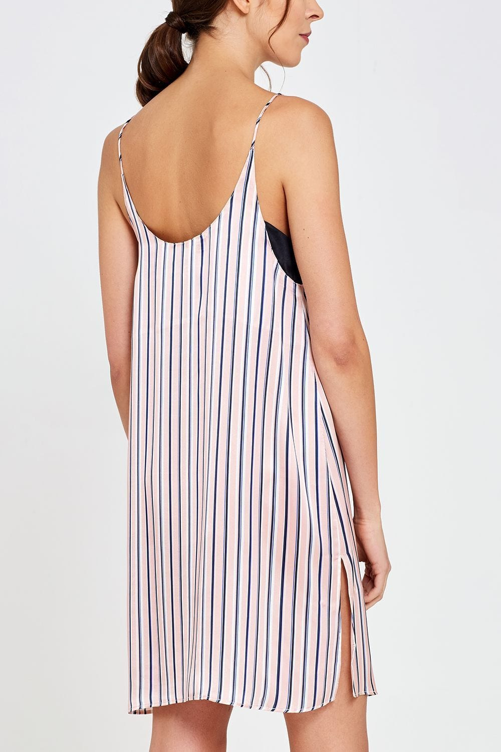 Adeline Shorty Nightdress Thin Stripe Back