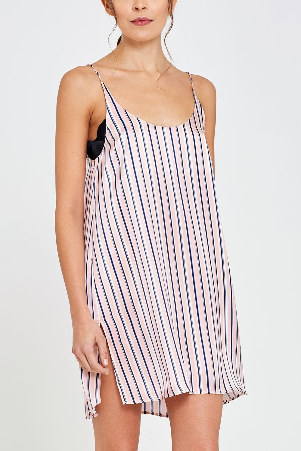 Adeline Shorty Nightdress Thin Stripe Front