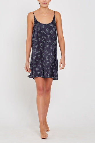 Adeline Charcoal Nightdress Front