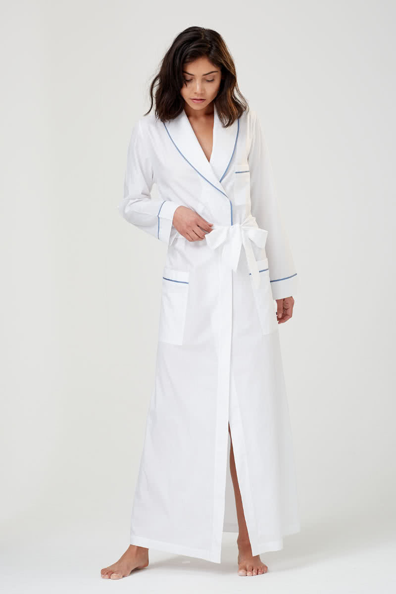 Ainsley Classic Long White Cotton Robe