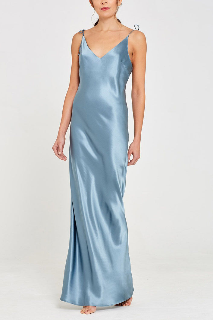 Aphrodite Long Silk Nightdress Teal Front