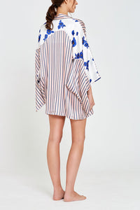 Arabella Floral and Stripe Print Kimono Back