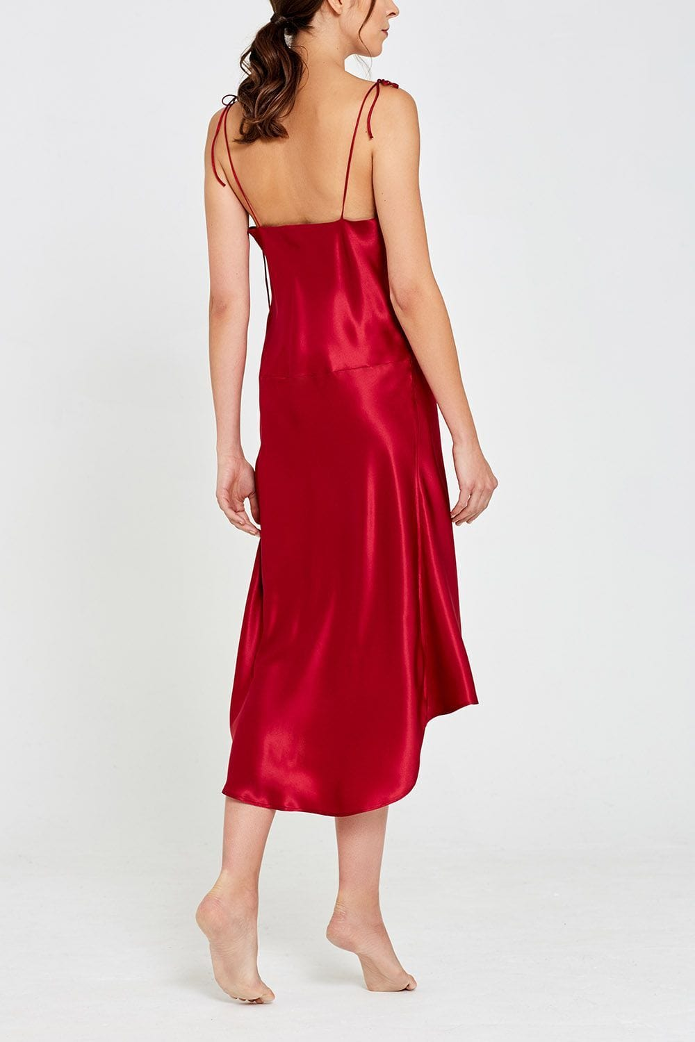 Aurora Mid-Length Silk Nightdress Garnet Back