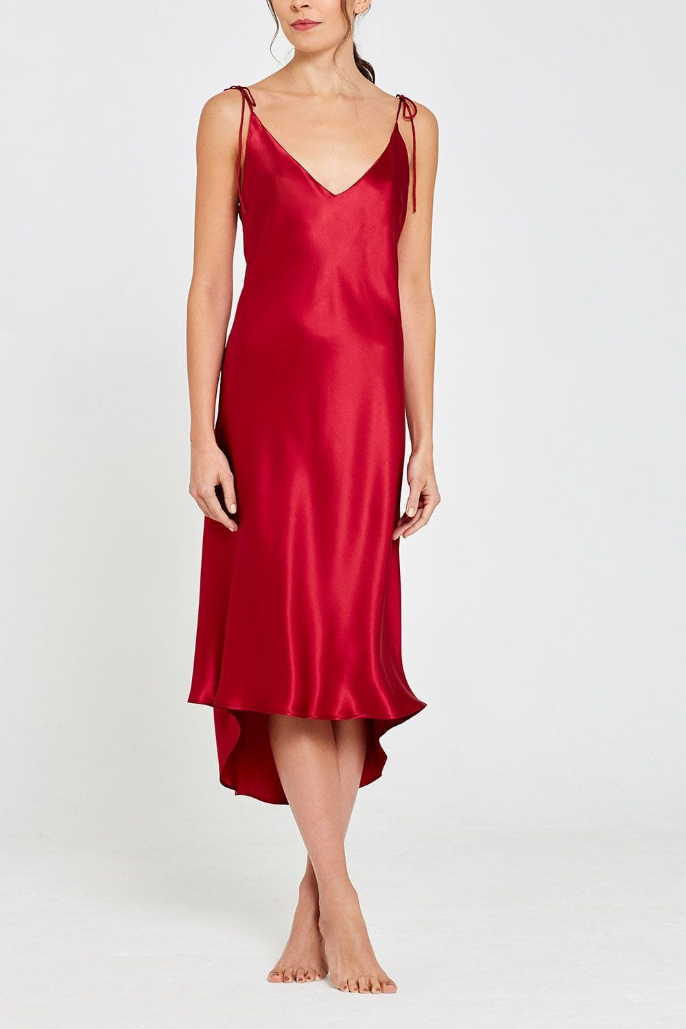 Aurora Mid-Length Silk Nightdress Garnet Front
