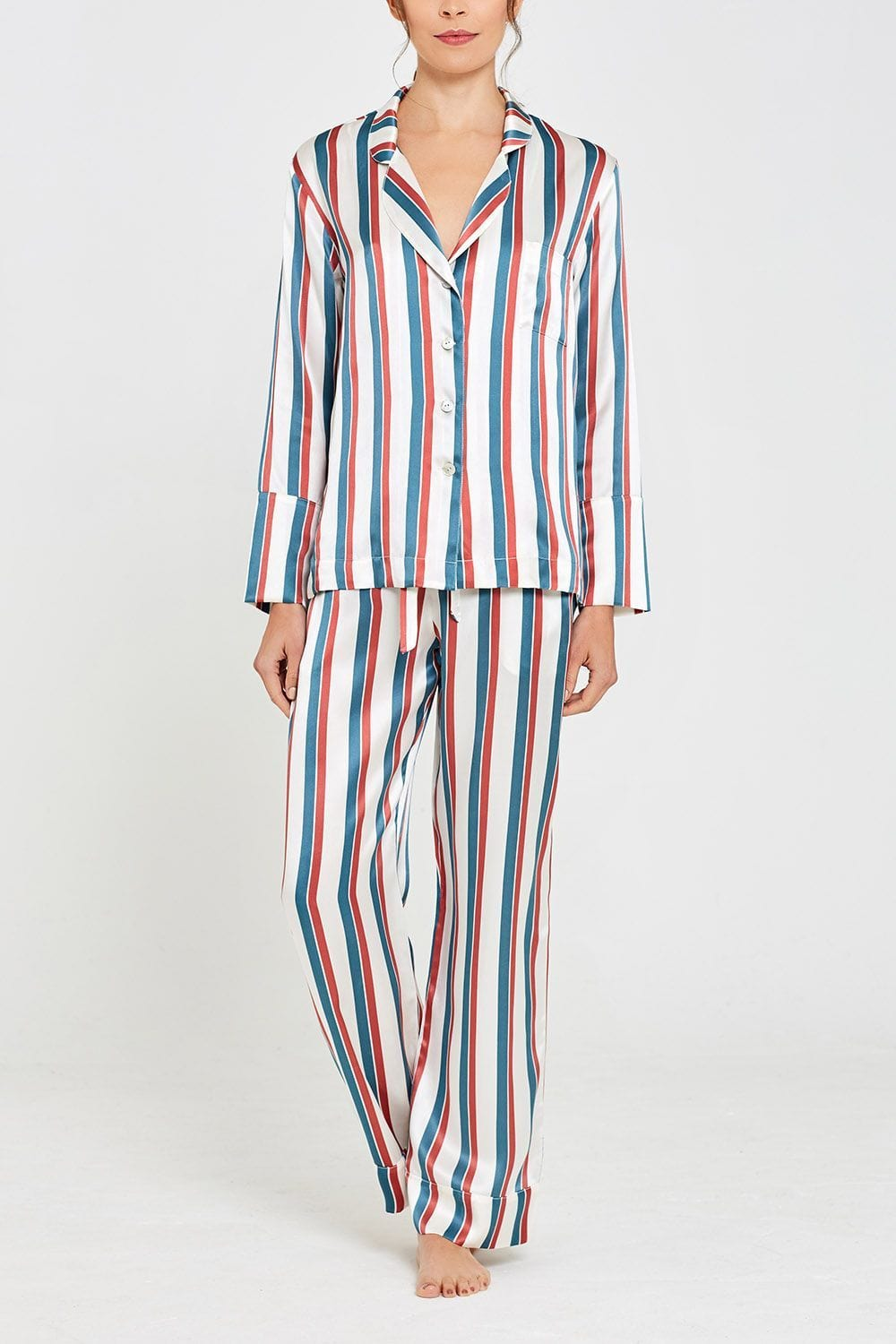 Evie Silk Pyjamas Stripe Print Full Set Front