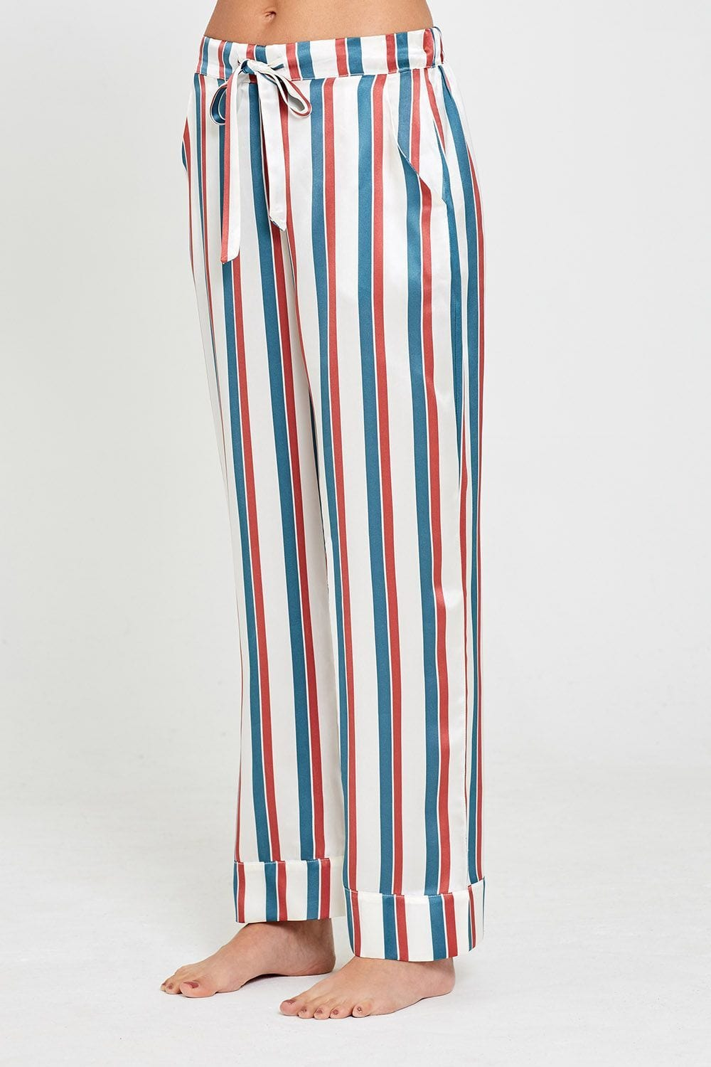 Evie Silk Pyjamas Stripe Print Trousers Front