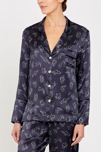 Evie PJ Charcoal Print Top