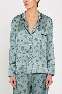 Evie PJ Shirt Green Print