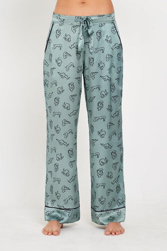 Evie PJ Trousers front Green Print