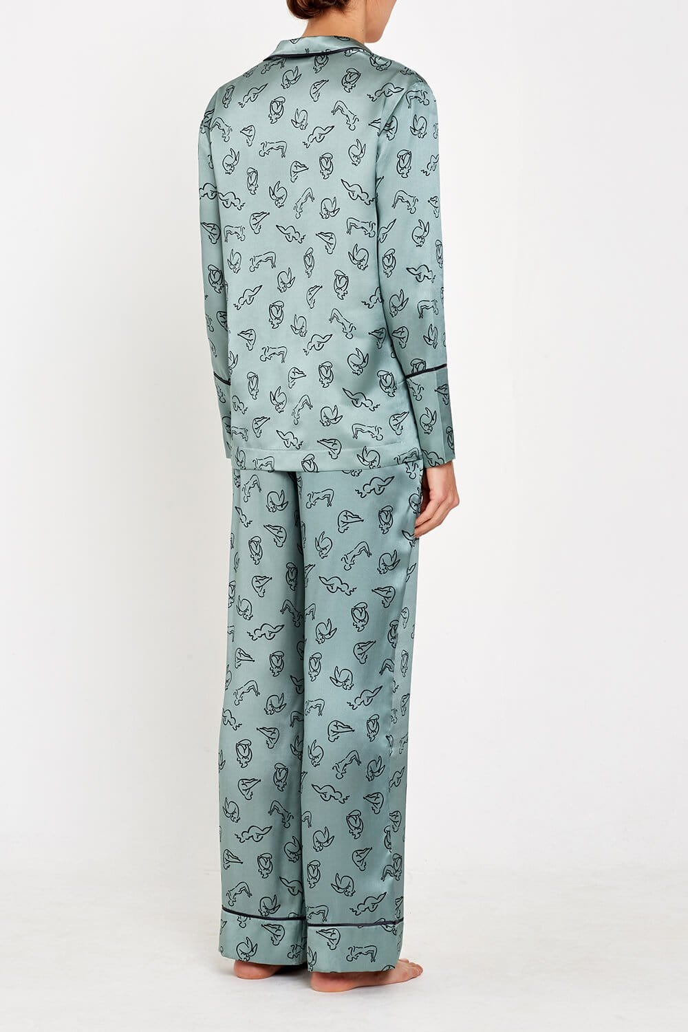 Evie PJs Green Print Full back