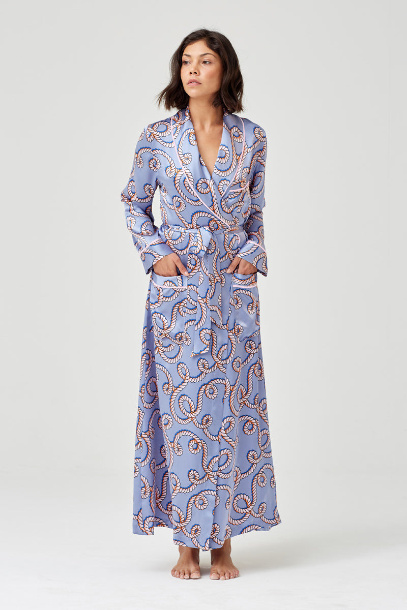 Ainsley Classic Pale Blue Rope Print Long Silk Robe