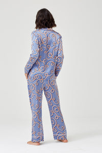 Evie Pale Blue Rope Print Silk Pyjama Trousers