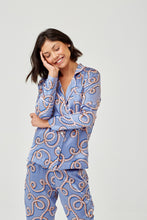 Evie Pale Blue Rope Print Silk Pyjama Shirt