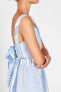 Farah Blue & White Striped Linen Dress