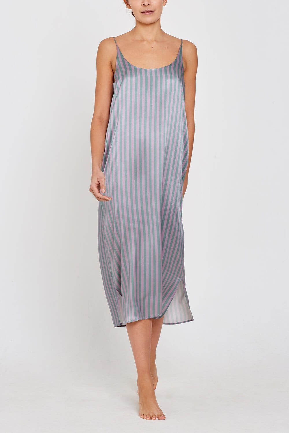 Freya Silk Nightdress Stripe Front