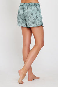 Gigi Green Print Silk Shorts Back
