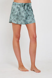 Gigi Green Print Silk Shorts Front