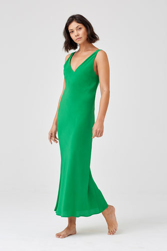 Gia Long Silk Emerald Crepe Bias Cut Dress