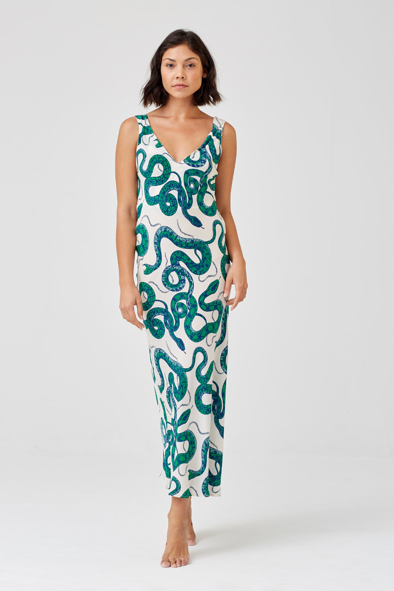 Gia Long Silk Snake Print Crepe Bias Cut Dress