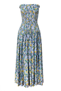 Hestia Strapless Smocked Dress Mimosa Print