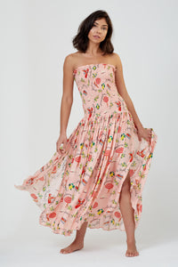 Hestia Strapless Smocked Dress St Tropez Print
